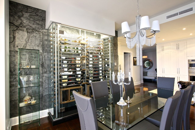 Glass Wine Room In The Dining 5 Modern