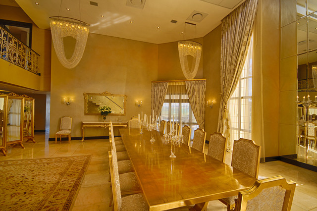 Gold 16 seater dining tablechairsconsole and mirrors