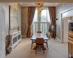 Gold and Orange Dining Room contemporary-dining-room