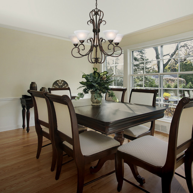 Traditional Dining Room: Golden Lighting