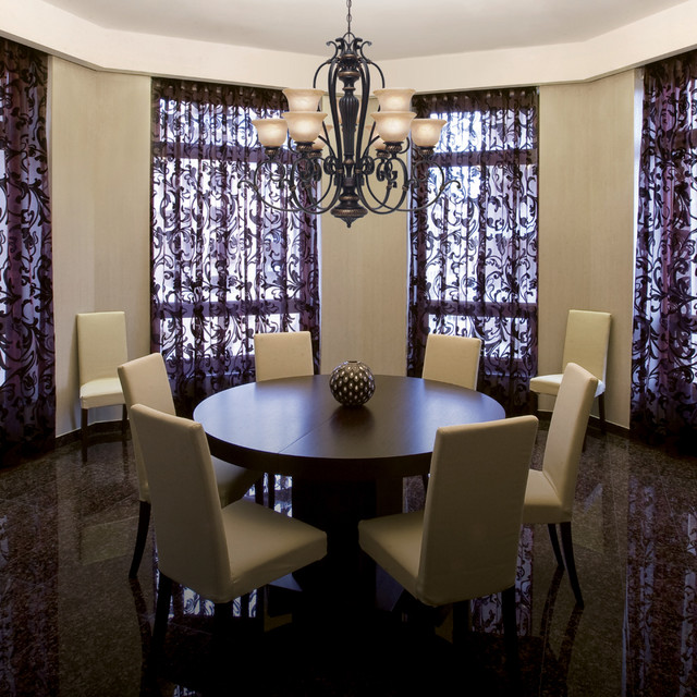 Mediterranean Style Dining Room Sets: Golden Lighting
