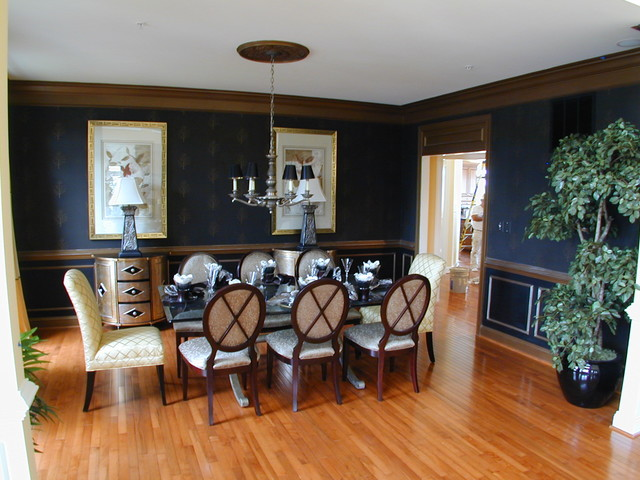 Good Wood Chair Rail Ideas Part - 12: Elegant Medium Tone Wood Floor Dining Room Photo In DC Metro With Blue Walls