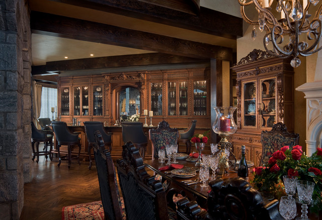 Gothic castle in the blue ridge mountains traditional for Gothic dining room design ideas
