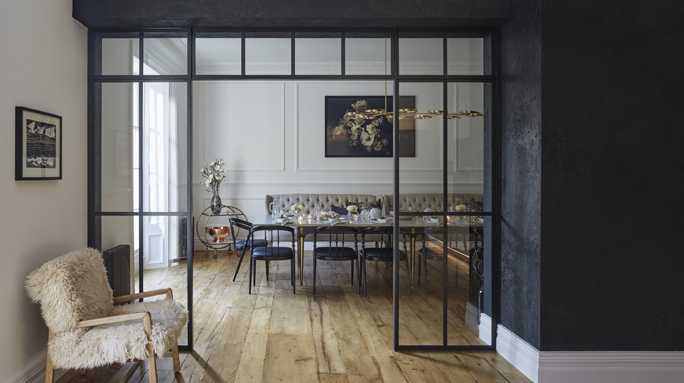 Inspiration for a contemporary dining room remodel in Hertfordshire