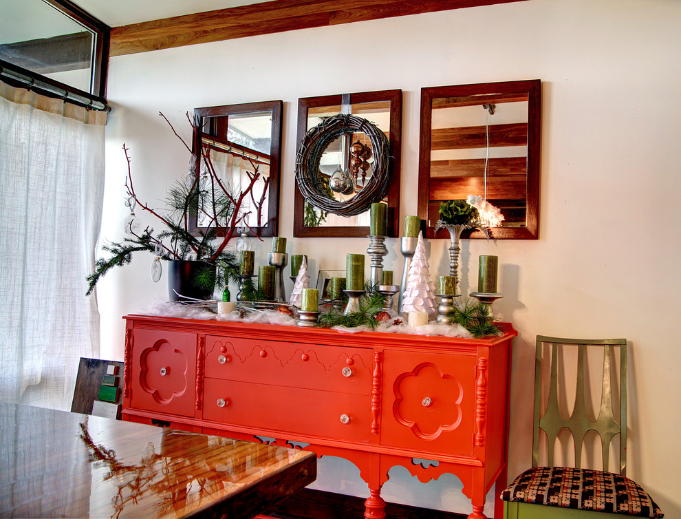 Dining room - shabby-chic style dining room idea in Grand Rapids with white walls