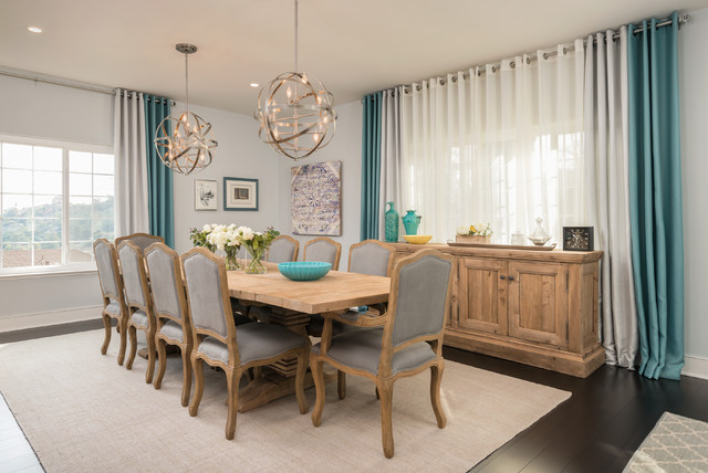 Gray And Teal Dining Room Contemporary