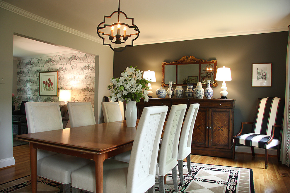 Inspiration for a mid-sized timeless light wood floor great room remodel in DC Metro with gray walls