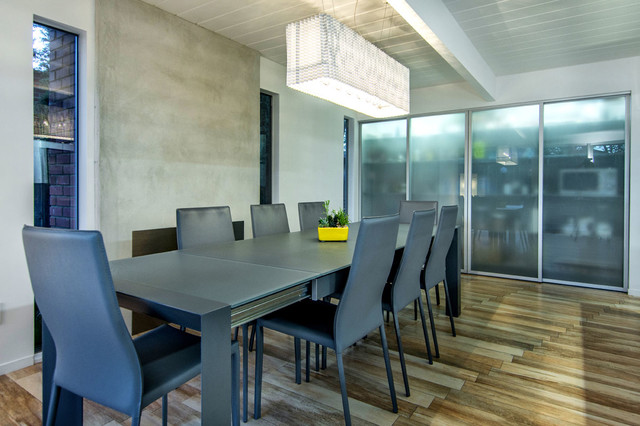 Gray dining table midcentury-dining-room