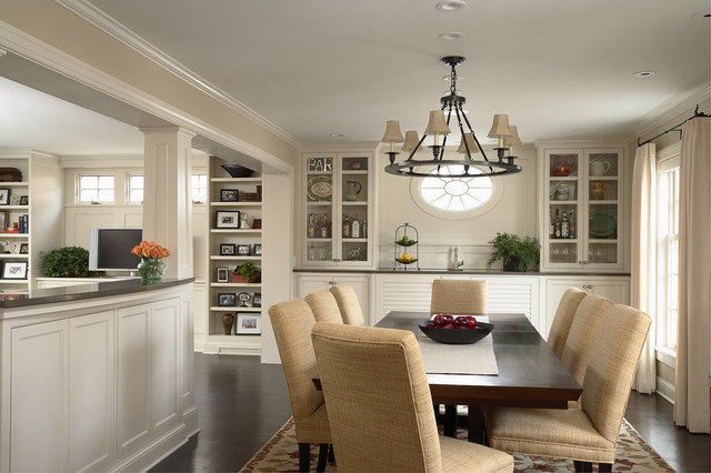Greek revival remodel dining room traditional dining for Kitchen remodel open to dining room