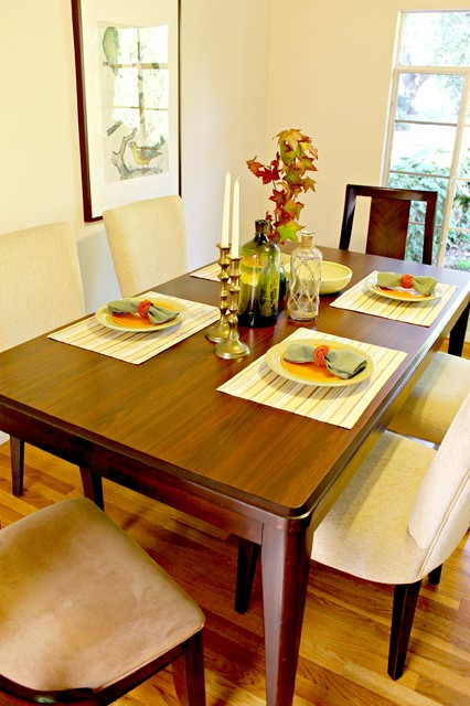 Green and orange dining accessories in updated traditional for Update traditional dining room