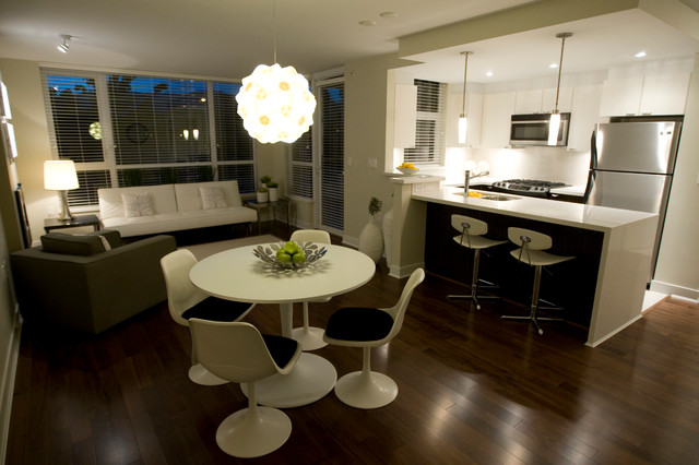 Example Of A Minimalist Dining Room Design In Vancouver