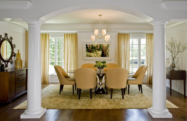 Example Of A Mid Sized Trendy Dark Wood Floor And Brown Enclosed Dining Room