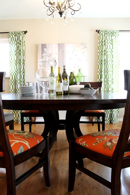 Green Lattice Print Curtains Pottery Barn Chandelier And Orange Palampore Traditional Dining