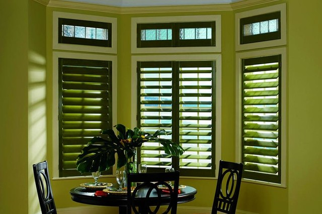 GREEN PLANTATION SHUTTERS   DARK GREEN WINDOW SHUTTERS   Lafayette Interior  Fash Traditional Dining