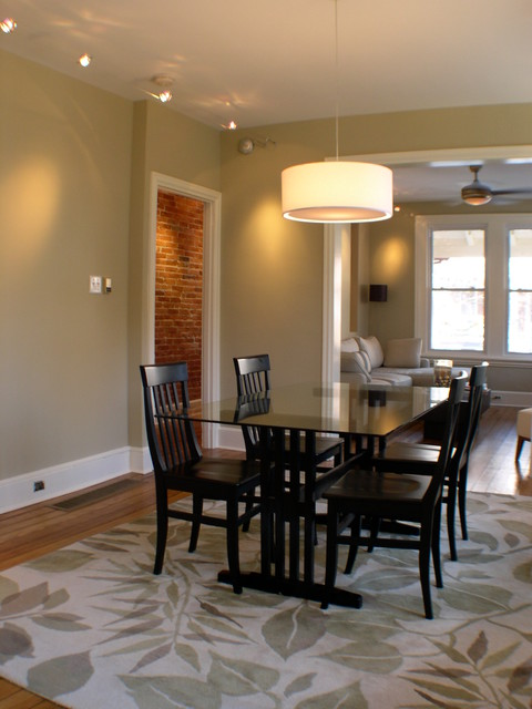 Green rowhouse renovation traditional dining room for Dining room renovation
