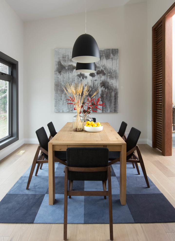 Mid-sized danish light wood floor enclosed dining room photo in Toronto with white walls