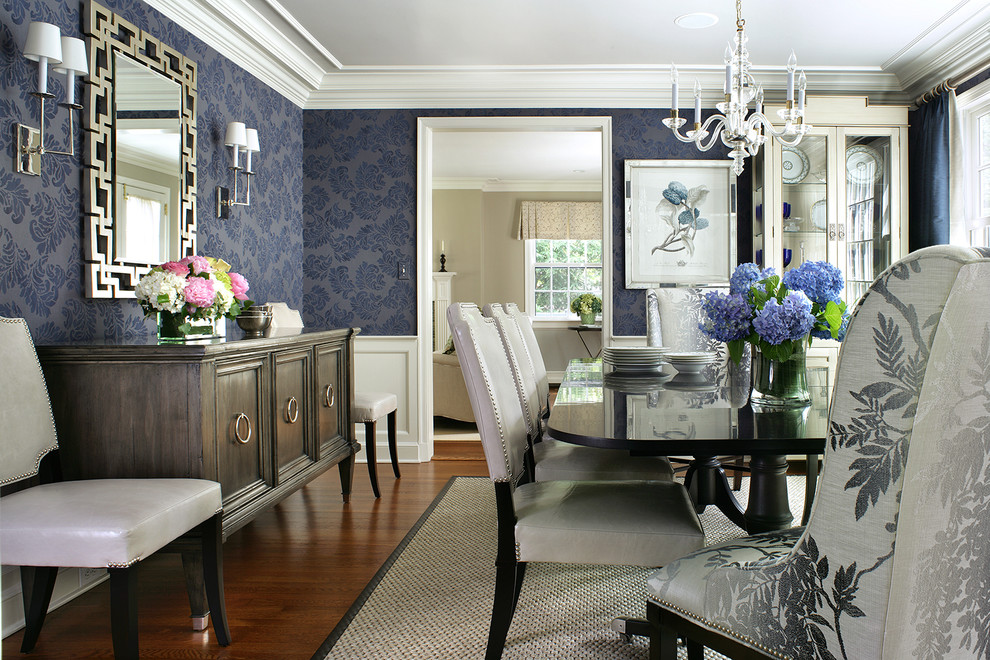 Inspiration for a large timeless dark wood floor enclosed dining room remodel in New York with blue walls and no fireplace