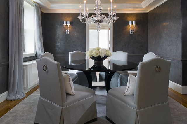 Greenwich penthouse transitional dining room for Dark grey dining room ideas