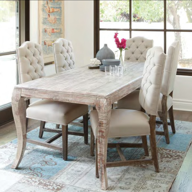 Grey Finish Dining Room Table Rustic Houston