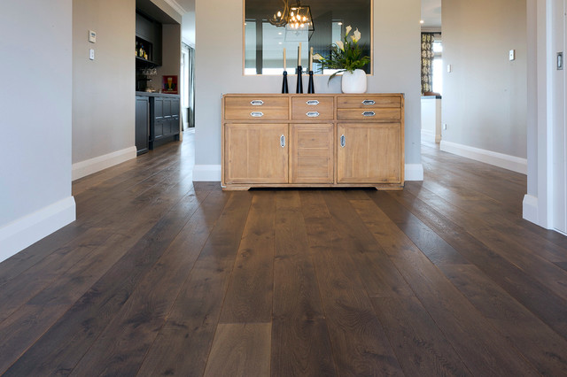 Greyed Oak Flooring In Contemporary Home