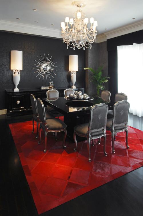 comedor con alfombras rojas