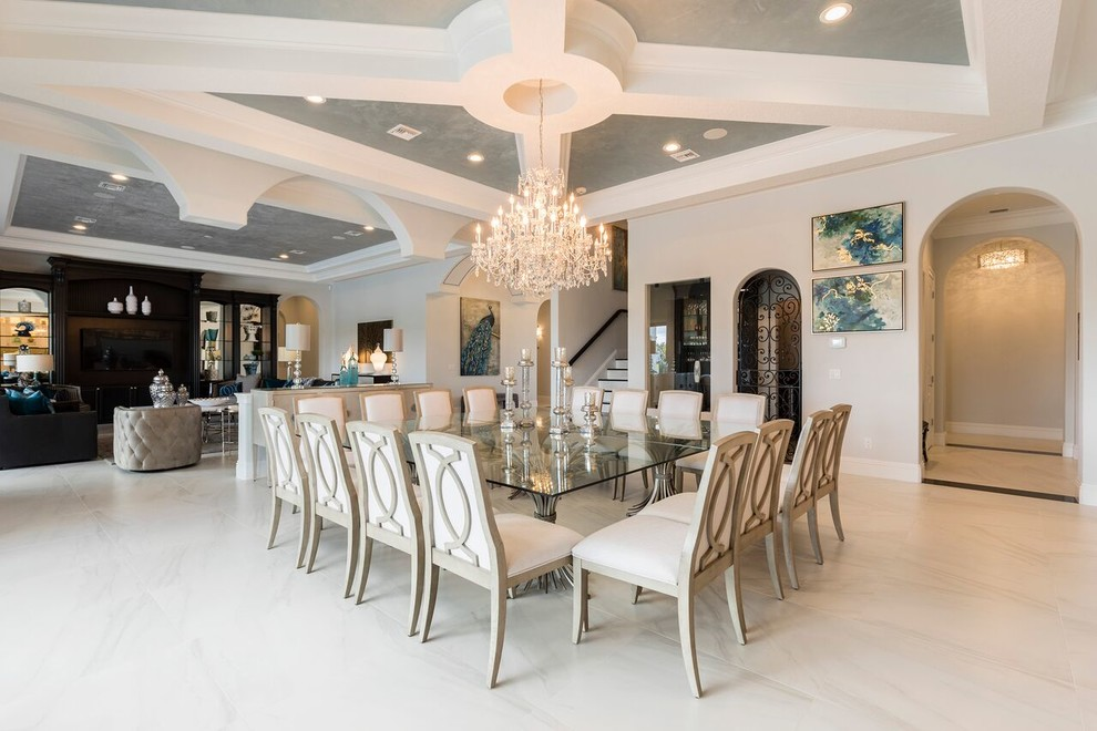 Example of a transitional dining room design in Orlando
