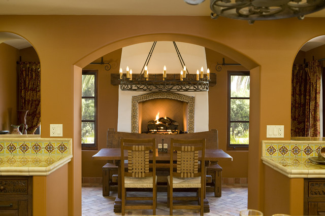 Hacienda style nook contemporary dining room