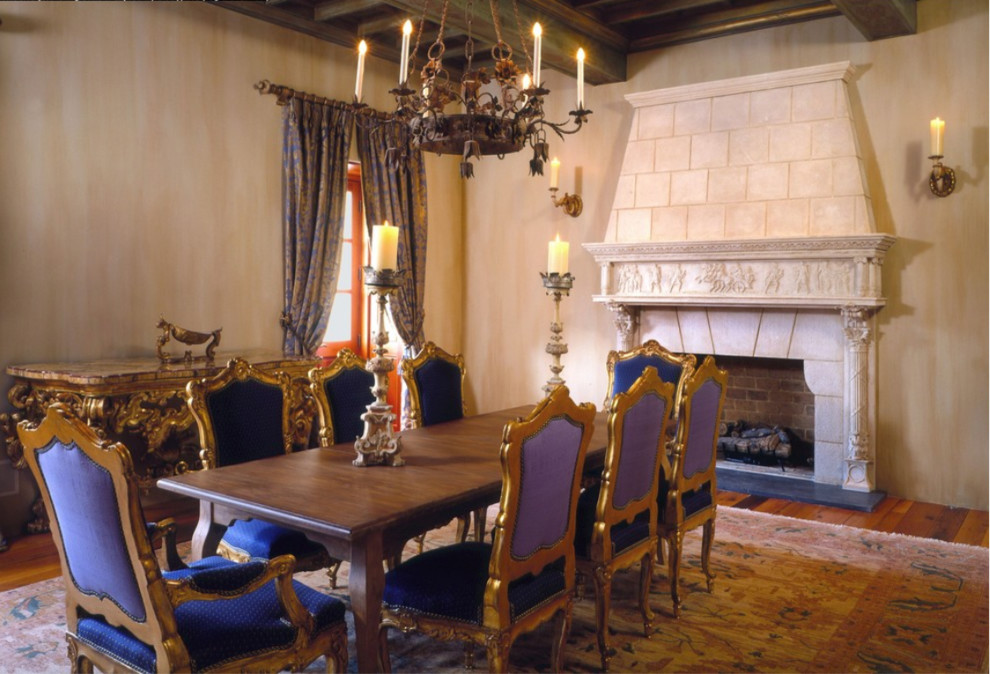 Great room - large mediterranean medium tone wood floor and brown floor great room idea with a standard fireplace, a stone fireplace and beige walls