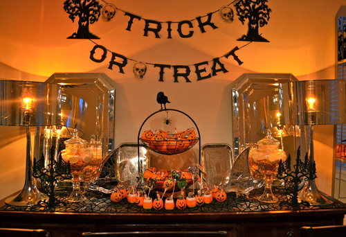 Halloween decorations need a pop of color, combined with things you own & use year round