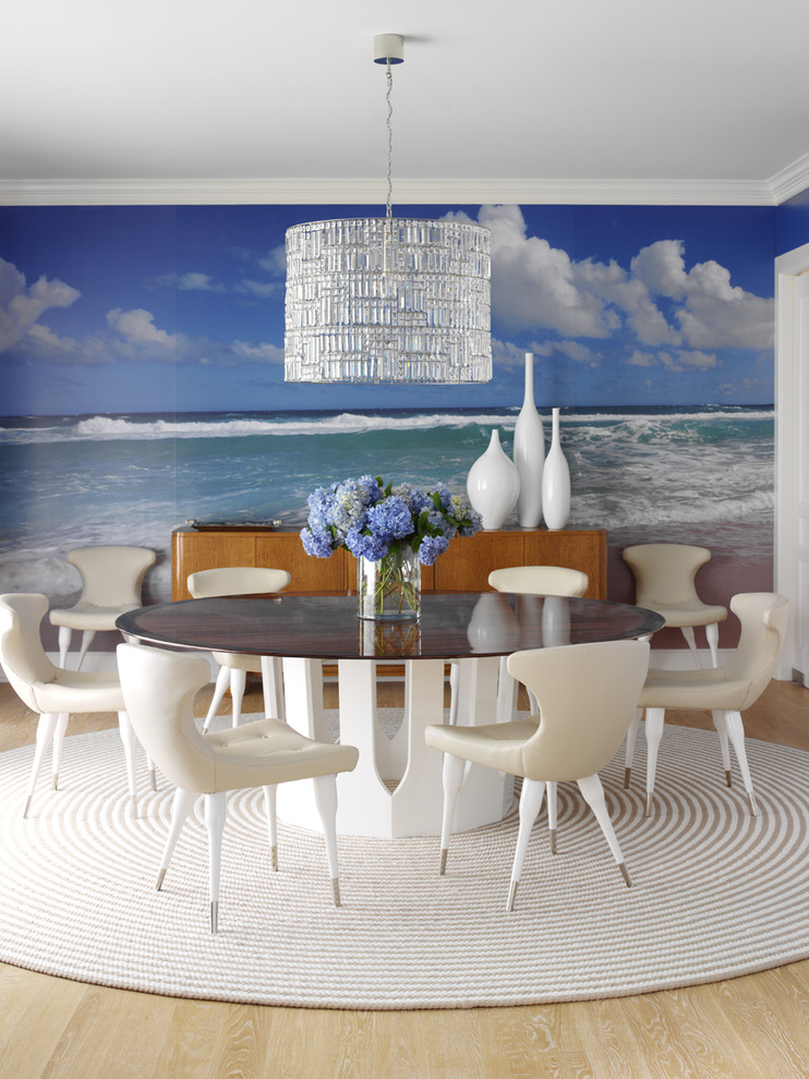Eclectic light wood floor and beige floor dining room photo in New York with multicolored walls