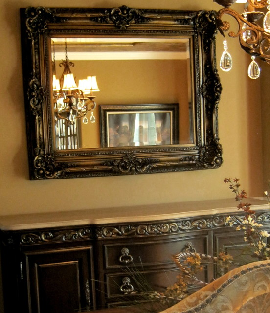 Hand painted buffet and mirror traditional dining room for Dining room mirrors