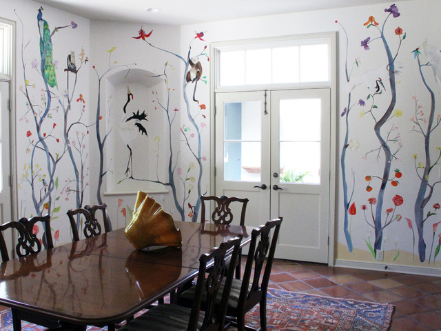 Hand Painted Chinoiserie Wallpaper Dining Room