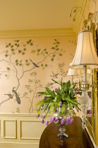 Hand-painted silk wallcovering traditional dining room