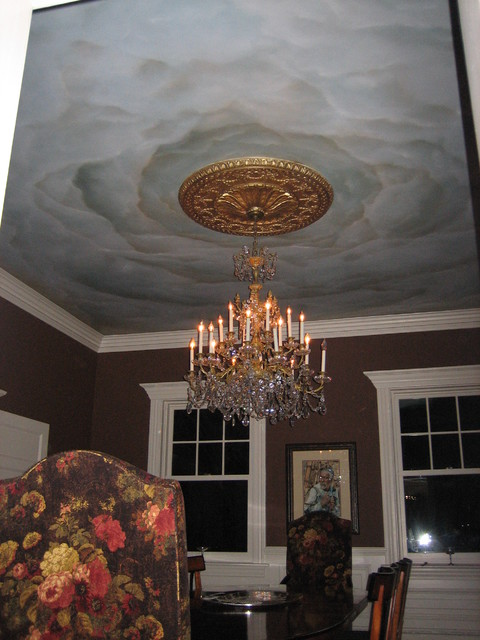 Hand painted sky on dining room ceiling traditional-dining-room