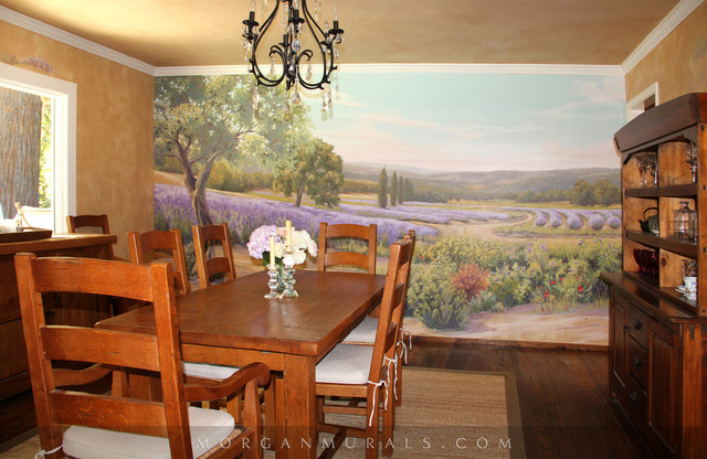 Hand painted wall mural lavender fields of southern for Dining room mural wallpaper