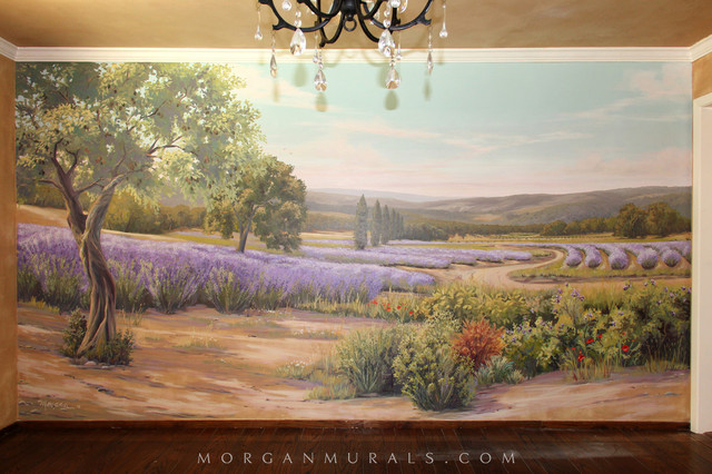 Hand Painted Wall Mural: Lavender Fields Of Southern France  Country Dining Room Part 16
