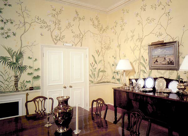 Hand Painted Wallpaper Birds And Flower Panoramic DesignModern Dining Room