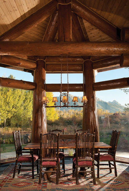 Handcrafted Log Home: The Jackson Hole Residence - Formal Dining Room - Rustic - Dining Room - Boise - by M.T.N Design