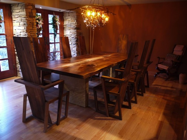 Custom dining room table and chandelier contemporary for Custom dining room tables