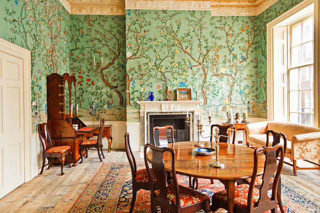 Handprinted Chinoiserie Wallpaper In Interior Design Traditional