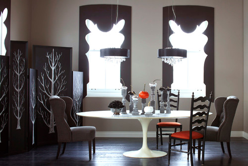 Handsome Dining Room with Custom Window Treatments