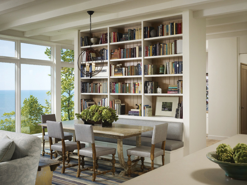Great room - mid-sized transitional medium tone wood floor great room idea in Other with white walls and no fireplace