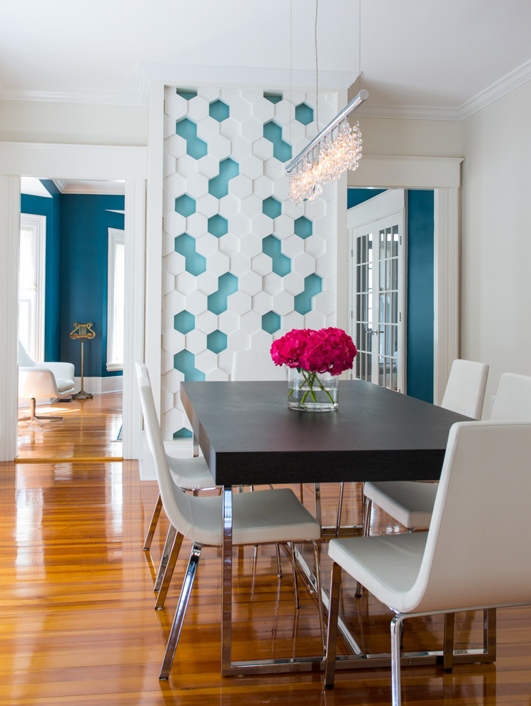 Inspiration for a mid-sized transitional medium tone wood floor dining room remodel in Boston with multicolored walls and no fireplace