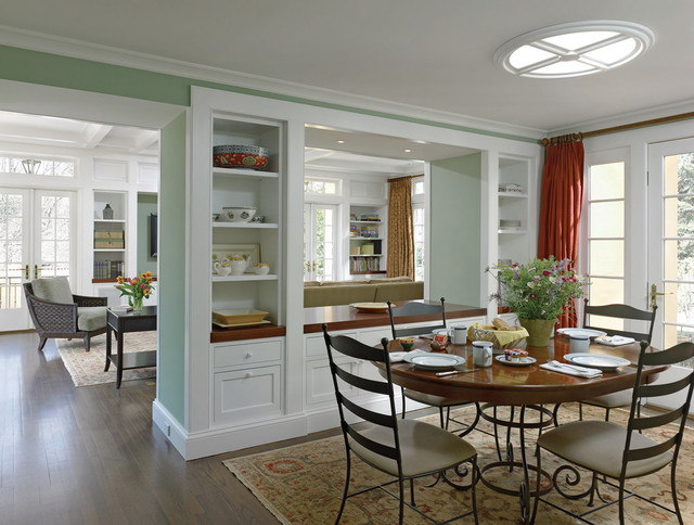 Beautiful Elegant Dark Wood Floor Dining Room Photo In Philadelphia With Green Walls Part 11