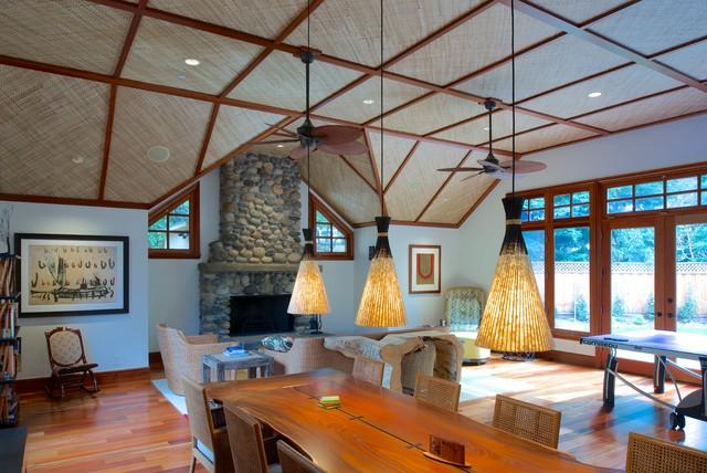 Hawaiian Lanai Pool House Beach Style Living Room