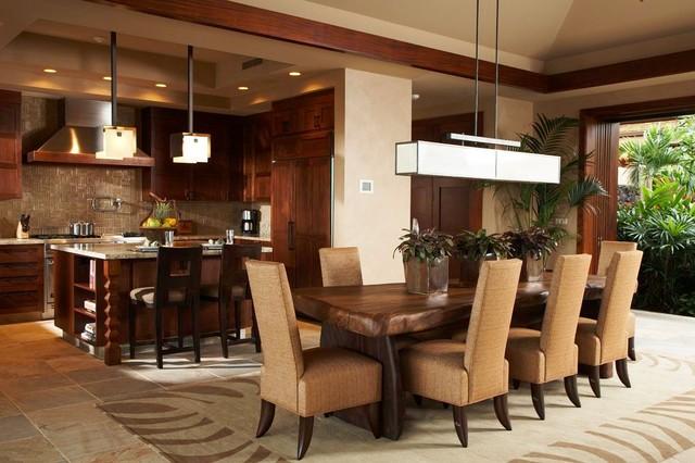 Merveilleux Hawaiian Retreat Tropical Dining Room