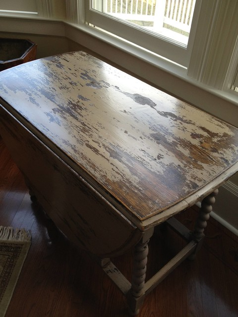 Heavily distressed painted table rustic dining room