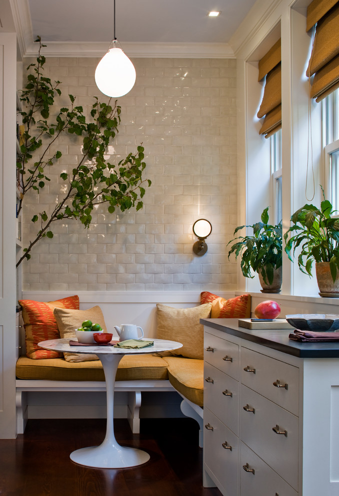 Inspiration for a transitional kitchen/dining room combo remodel in New York