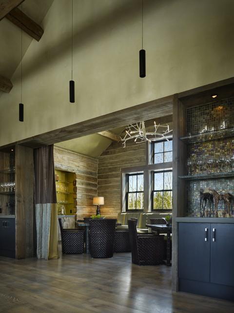 Dining room - rustic dining room idea in Denver