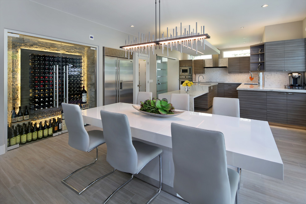 Example of a minimalist porcelain tile kitchen/dining room combo design in Orange County